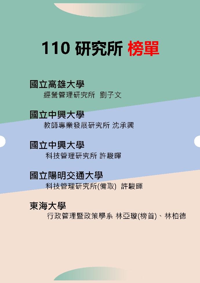 110研究所榜單
